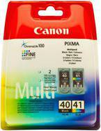 Tusze CANON PG-40+CL-41, 0615B043 - komplet do  Pixma MP; 140, 150, 160, 170, 180, 190, 210, 220, 450, 460, 470, MX300, 310, iP: 1200, 1300, 1600, 1700, 1800, 1900, 2200, 2500, 2600, 6210D, 6220, 6310, 6320 - komplet
