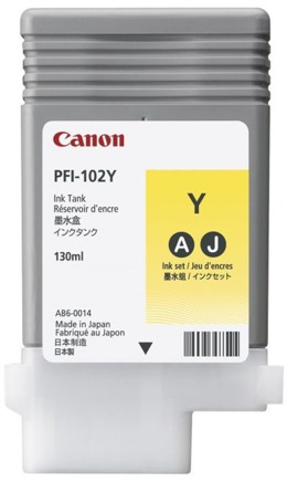 Tusz CANON PFI-102Y, 0898B001 do LP17, 24, iPF: 500, 510, 600, 605, 610, 650, 655, 700, 710, 720, 750, 755, 760, 765 - yellow