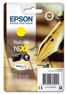 Tusz EPSON T1634 - C13T16344012 do WF-2010, 2510, 2520, 2530, 2540, 2630, 2650, 2660, 2750, 2760 - yellow - tusz z multipaka